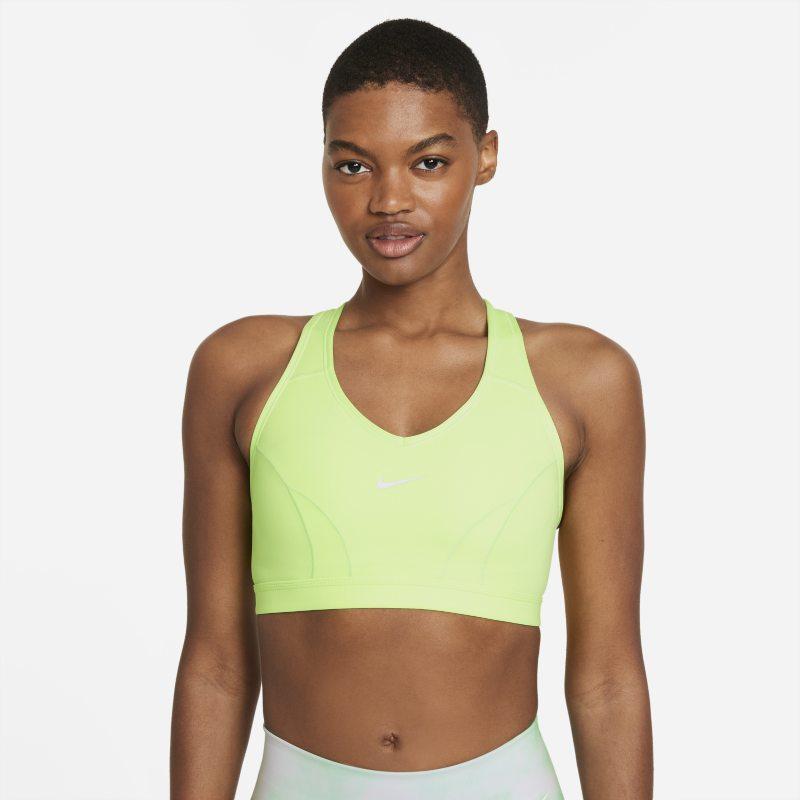 Nike Dri-FIT Swoosh Icon Clash Sujetador deportivo de sujeción media con almohadilla de una sola pieza y escote en V - Mujer - Verde