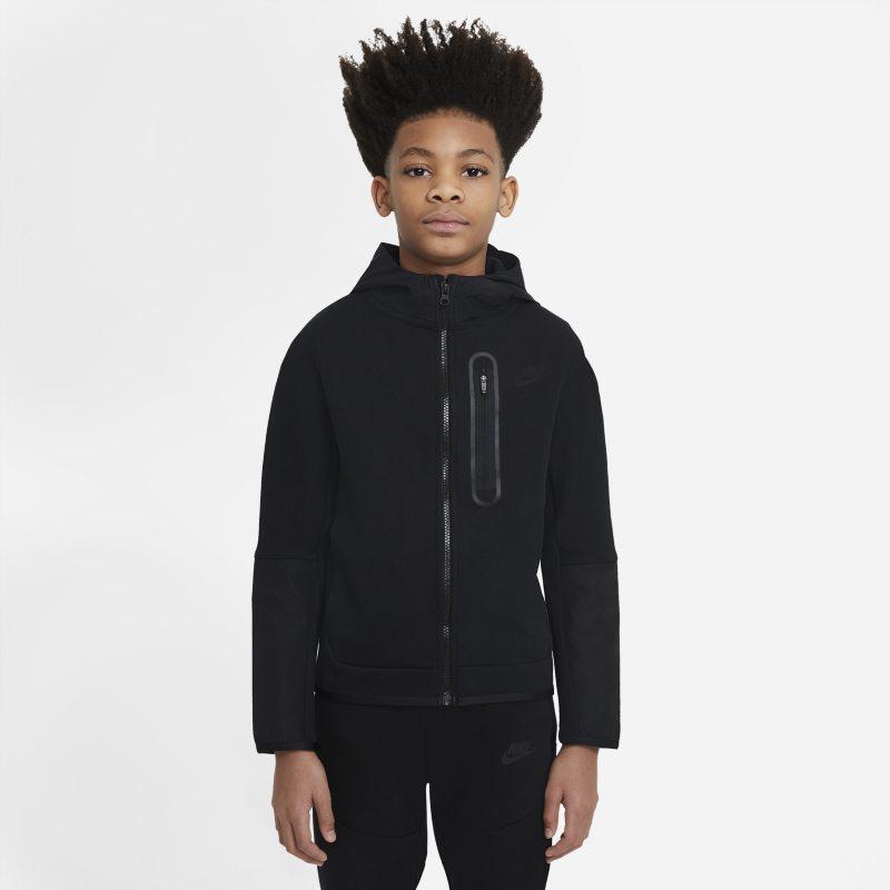 Nike Sportswear Tech Fleece Geweven hoodie met rits voor jongens - Zwart