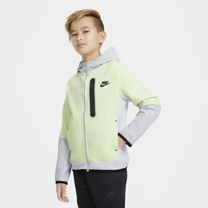 Nike Sportswear Tech Fleece Geweven hoodie met rits voor jongens - Groen
