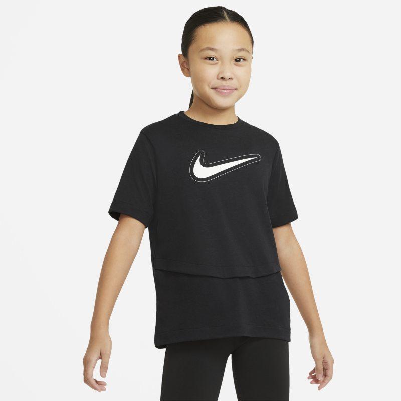 Nike Dri-FIT Trophy Trainingstop met korte mouwen voor meisjes - Zwart