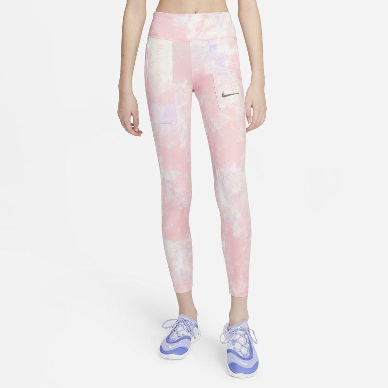 Nike One Legging met tie-dye-print voor meisjes - Roze