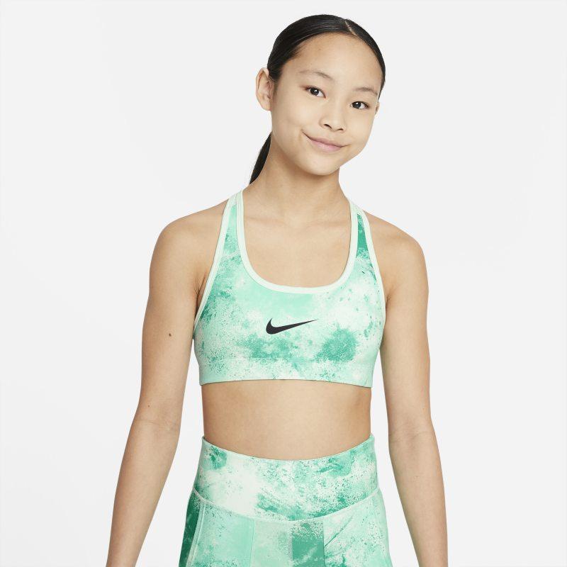 Nike Swoosh Omkeerbare sport-bh met tie-dye-print voor meisjes - Groen