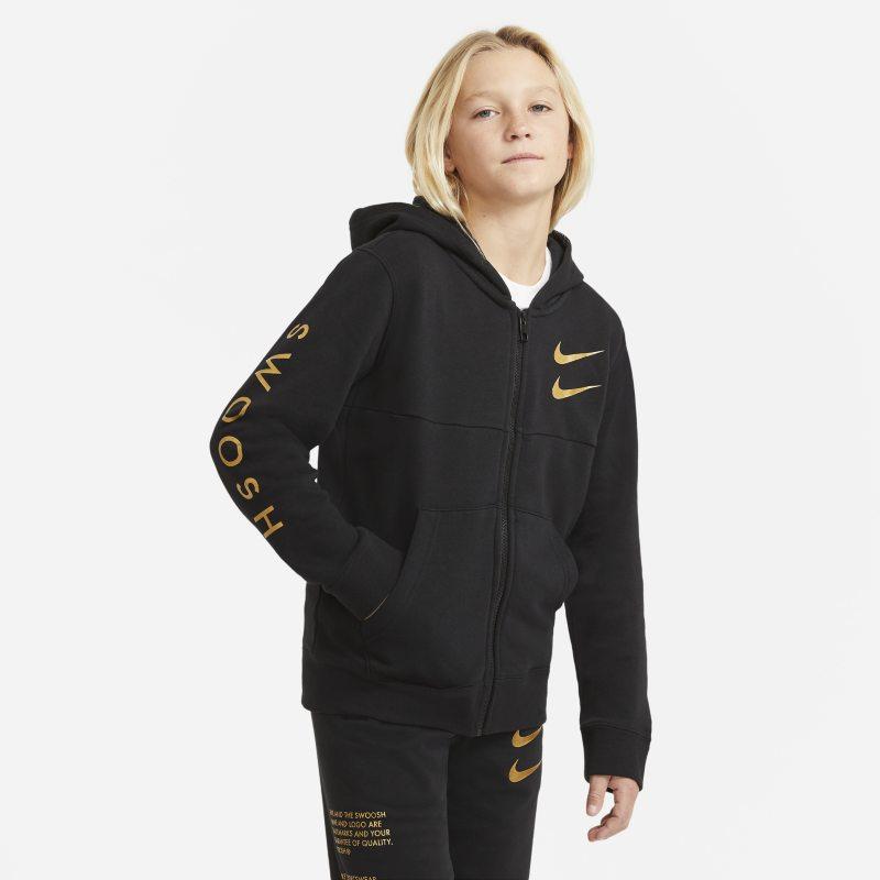 Nike Sportswear Swoosh Hoodie met rits voor jongens - Zwart