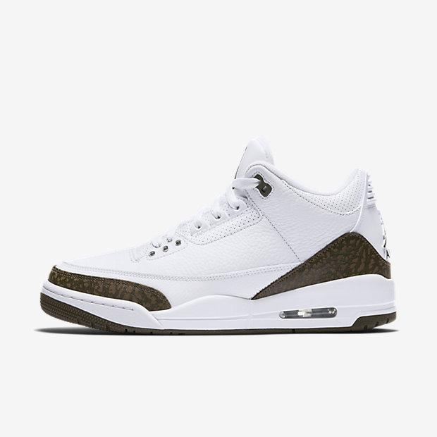 Мужские кроссовки Air Jordan 3 Retro, Белый/Хром/Темный мокко, Артикул: 136064-122  - купить со скидкой