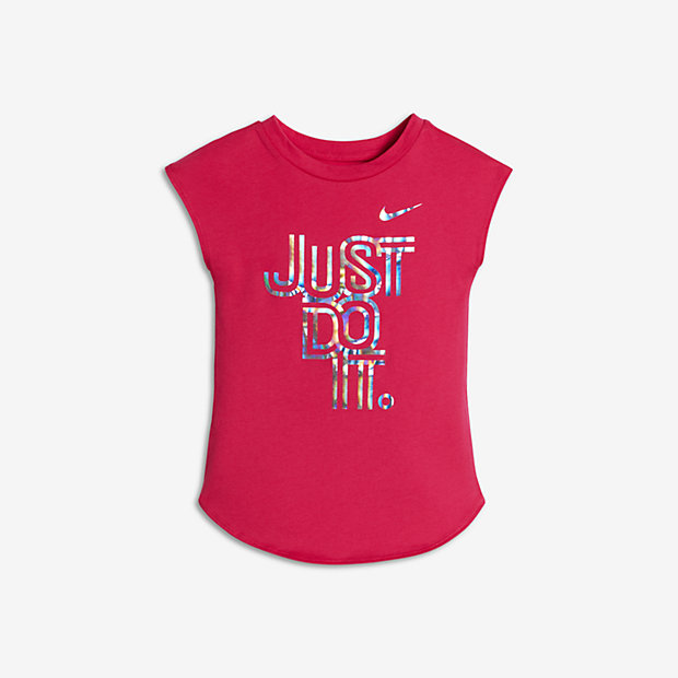 Nike Iridescent Just Do It Infant Girls' Short Sleeve T-Shirts Hyper Pink