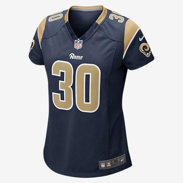 Camiseta oficial de fútbol americano para mujer NFL Los Angeles Rams (Todd Gurley II) de local