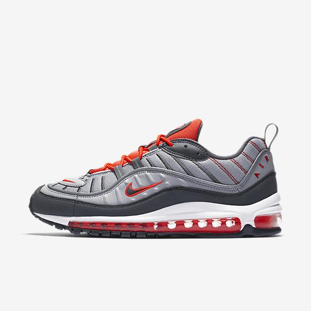 Мужские кроссовки Nike Air Max 98, Темно-серый/Ярко-красный/Habanero Red/Темно-серый, Артикул: 640744-006  - купить со скидкой