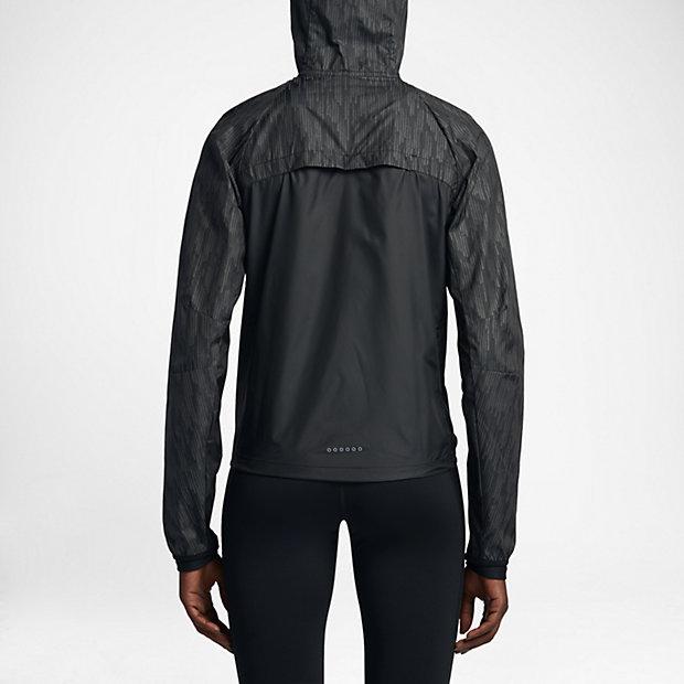 Femmes Nike Veste De Course Coureur De Pluie Noire