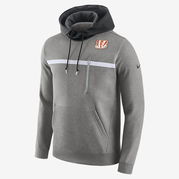 Mens Buffalo Bills Nike Gray Fly Over Pullover Therma FIT Hoodie
