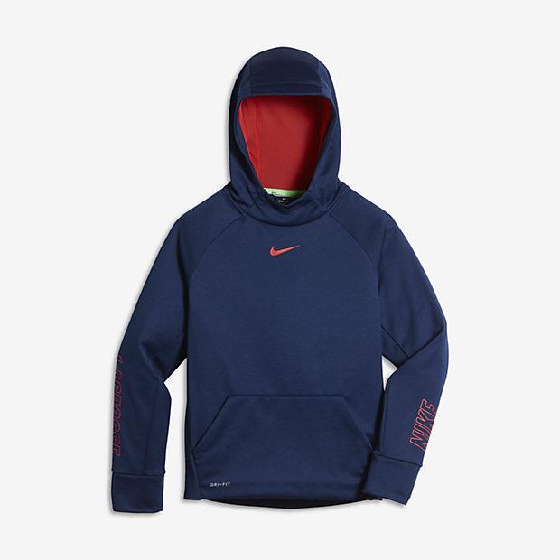 Nike Therma Big Kids' Lacrosse Hoodies Binary Blue/Orange