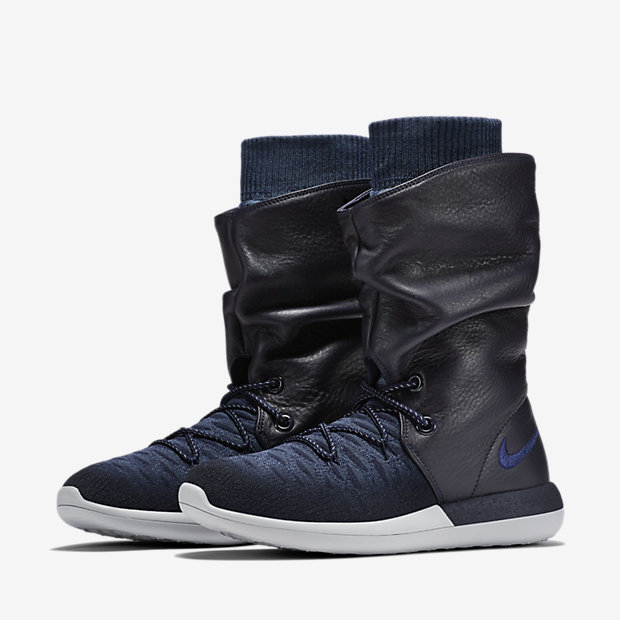 Damen Nike Roshe Two Flyknit Hi 861708 400 Blau Hohe Schuhe Neu
