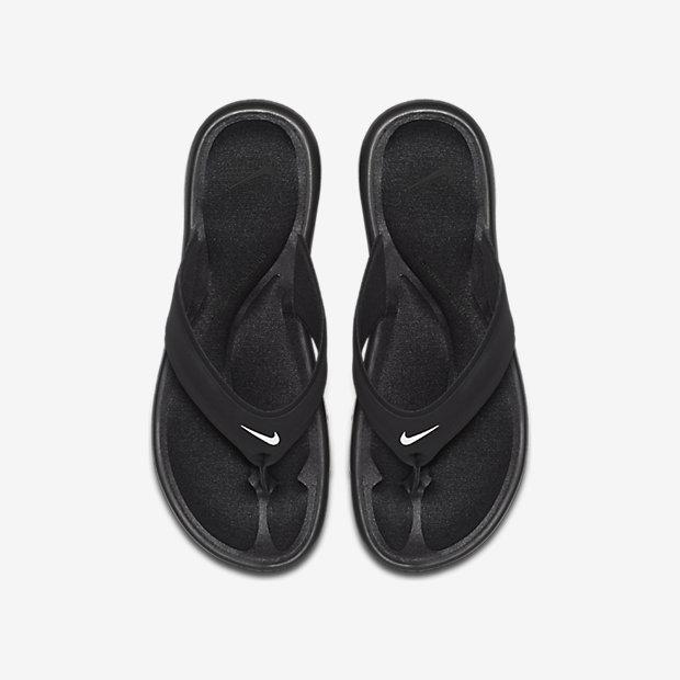 Nike Air Max Womans En Cuir Noir Tongs