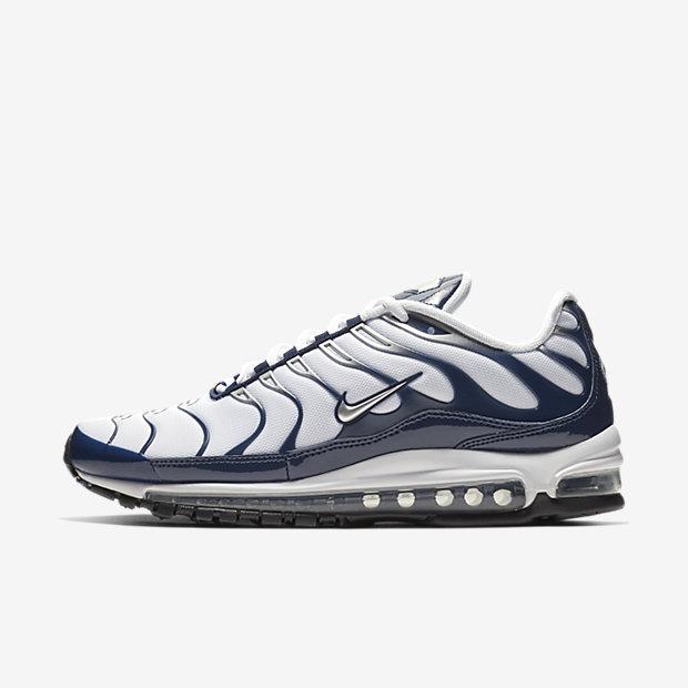 Мужские кроссовки Nike Air Max 97 Plus, Белый/Полночно-синий/Серебристый металлик, Артикул: AH8144-100  - купить со скидкой