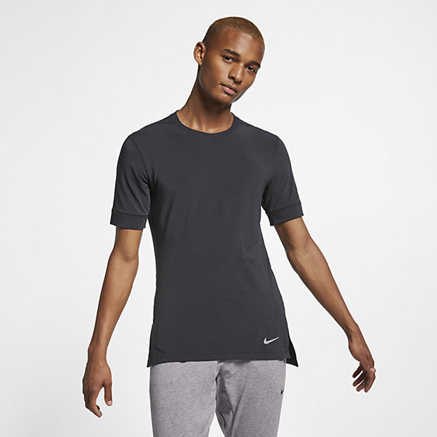 Nike Dri Fit Short Sleeve Workout Hoodie Sweatshirt Charcoal Gray Large