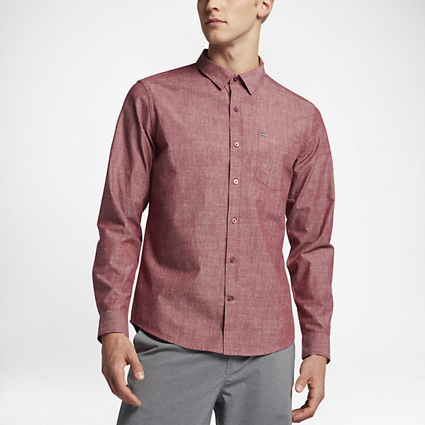 Hurley One and Only 3.0 Men's Long Sleeve Shirts Team Red