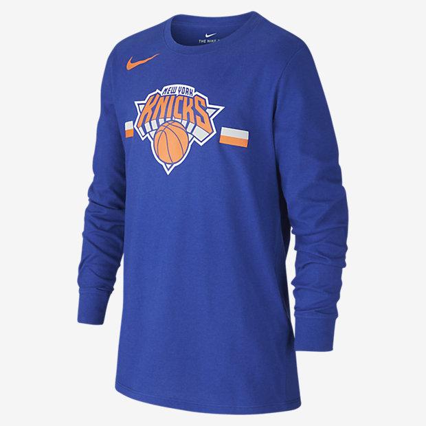 Tričko NBA New York Knicks Nike Dri-FIT Logo s dlouhým rukávem pro větší děti