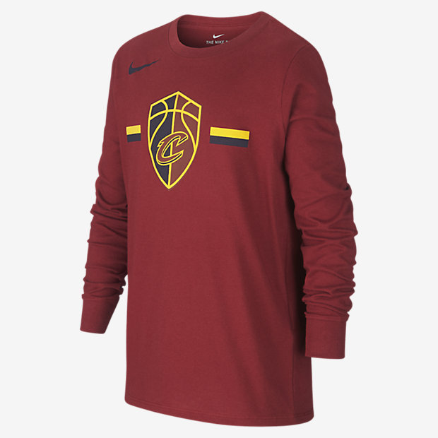 Långärmad NBA-t-shirt Cleveland Cavaliers Nike Dri-FIT Logo för ungdom