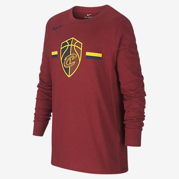 Tričko NBA Cleveland Cavaliers Nike Dri-FIT Logo s dlouhým rukávem pro větší děti