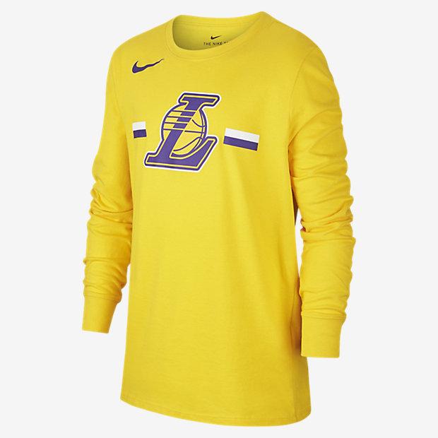 Los Angeles Lakers Nike Dri-FIT Logo Older Kids' Long-Sleeve NBA T-Shirt