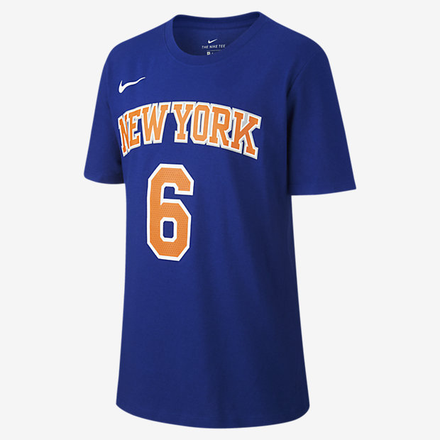 Tee-shirt de basketball Nike Icon NBA Knicks (Porzingis) pour Garçon plus âgé