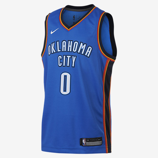 Russell Westbrook Oklahoma City Thunder Nike Icon Edition Swingman – NBA-trøje til store børn