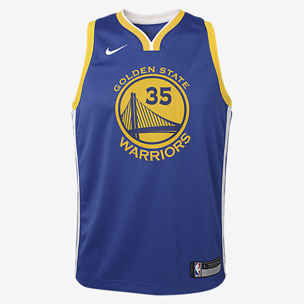 Kevin Durant Golden State Warriors Nike Icon Edition Swingman – NBA-trøje til store børn