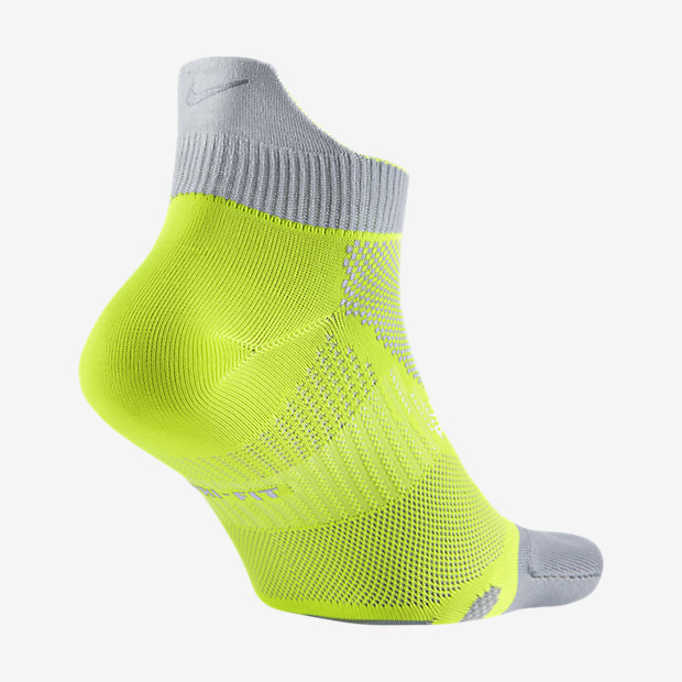 Nike Elite Lightweight No Show Tab Volt/Wolf Grey Running Socks