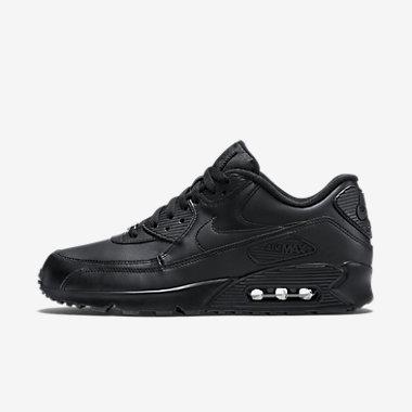Купить Мужские кроссовки Nike Air Max 90 Leather. Черный/Черный Артикул: 302519-001