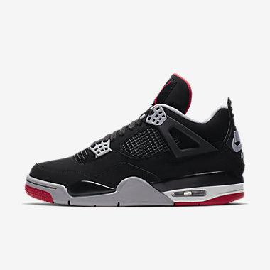 Купить Мужские кроссовки Air Jordan 4 Retro, Черный/Цементно-серый/Белоснежный/Огненно-красный, Артикул: 308497-060