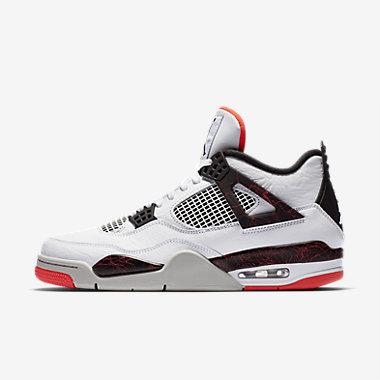 Купить Мужские кроссовки Air Jordan 4 Retro, Белый/Яркий темно-красный/Pale Citron/Черный, Артикул: 308497-116