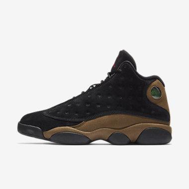 Купить Мужские кроссовки Air Jordan 13 Retro, Черный/Светло-оливковый/Белый/Истинно-красный, Артикул: 414571-006