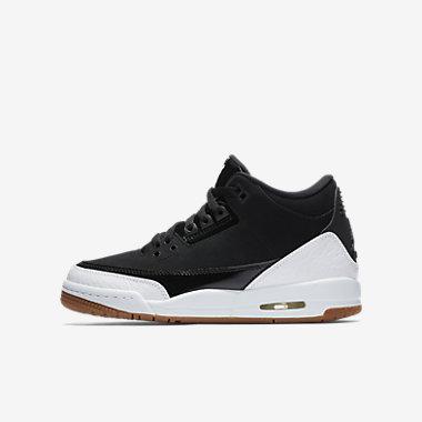 Купить Кроссовки для школьников Air Jordan 3 Retro, Черный/Коричневая резина/Белый, Артикул: 441140-022
