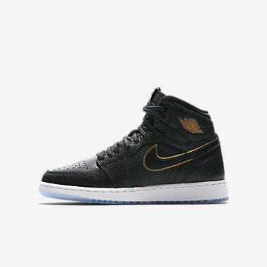 Купить Кроссовки для школьников Air Jordan 1 Retro High OG, Черный/Белоснежный/Золотистый металлик, Артикул: 575441-031