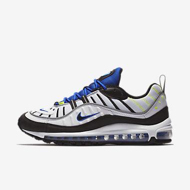 Купить Мужские кроссовки Nike Air Max 98, Белый/Синий/Салатовый/Черный, Артикул: 640744-103