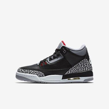 Купить Кроссовки для школьников Air Jordan 3 Retro OG. Черный/Цементно-серый/Белый/Огненно-красный Артикул: 854261-001