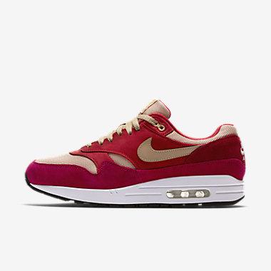 Купить Мужские кроссовки Nike Air Max 1 Premium Retro, Дерзкий красный/Rush Red/Pale Vanilla/Коричневый, Артикул: 908366-600