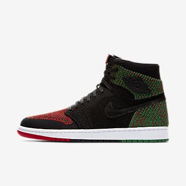 Купить Мужские кроссовки Air Jordan 1 Flyknit BHM, Черный/Ярко-зеленый/Красный/Черный, Артикул: AA2426-026