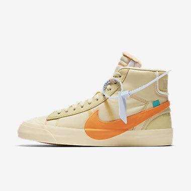 Купить Мужские кроссовки The 10: Nike Blazer Studio Mid x Off-White, Парусина/Pale Vanilla/Черный/Ярко-оранжевый, Артикул: AA3832-700