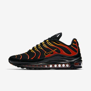 Купить Мужские кроссовки Nike Air Max 97 Plus, Черный/Мотор 1/Оранжевый шок/Черный, Артикул: AH8144-002