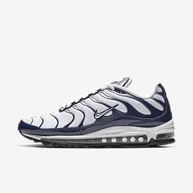 Купить Мужские кроссовки Nike Air Max 97 Plus, Белый/Полночно-синий/Серебристый металлик, Артикул: AH8144-100