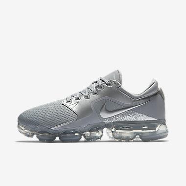 Купить Женские беговые кроссовки Nike Air VaporMax. Темно-серый/Серебристый металлик/Антрацитовый/Light Carbon Артикул: AH9045-006