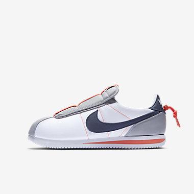 Купить Мужские кроссовки Nike x Kendrick Lamar Cortez Basic Slip, Белый/Темно-серый/Оранжевый/Голубой гром, Артикул: AV2950-100