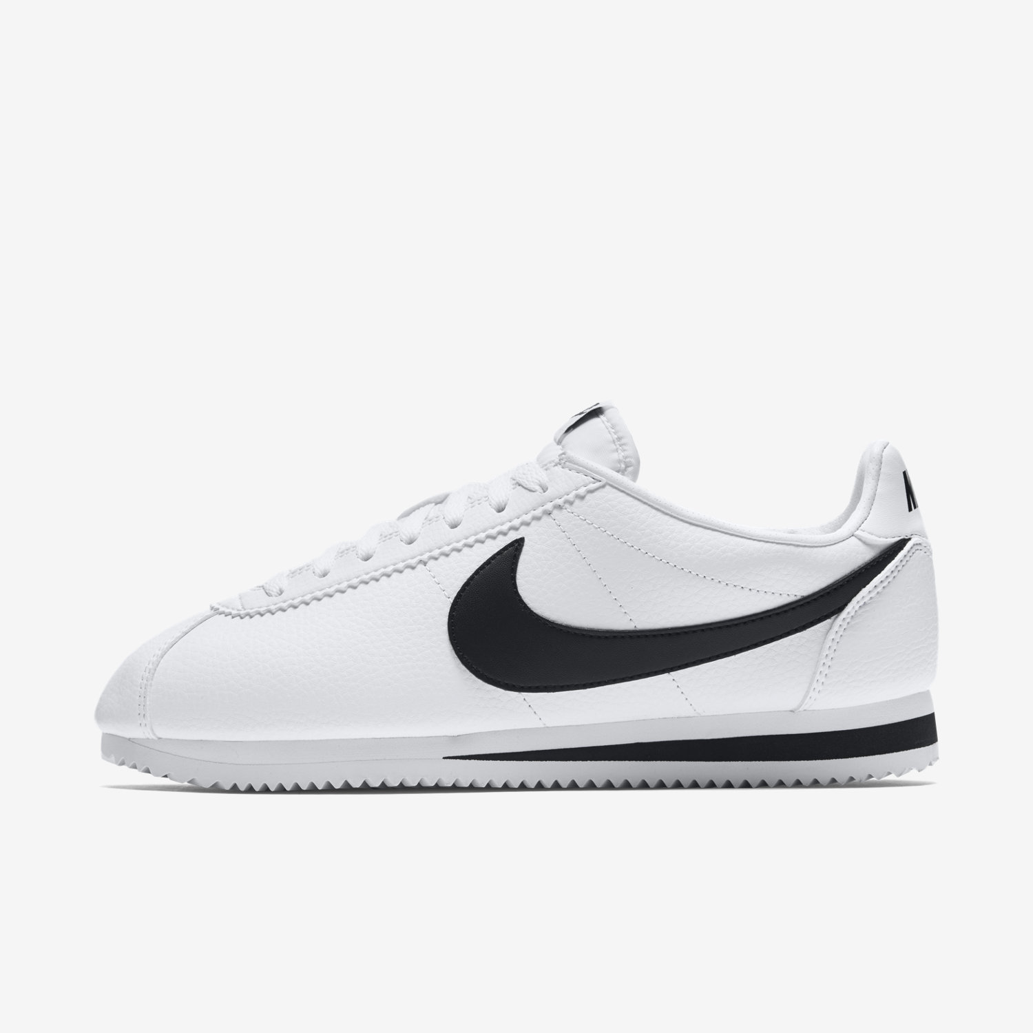 white and black nike cortez shoes