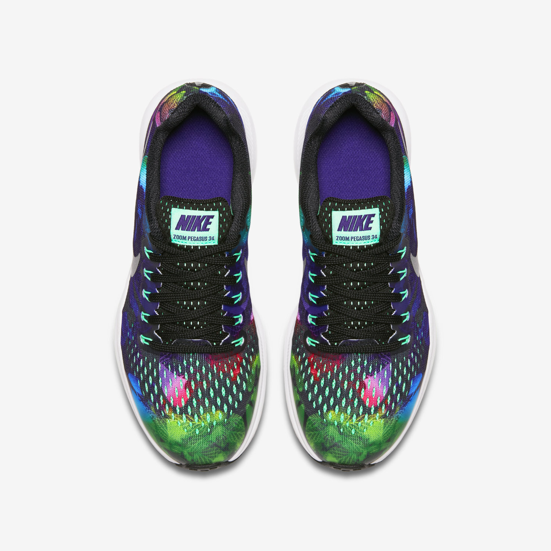 official photos 88948 1446b ... purple white black  nike zoom pegasus 34 print big kids running shoe .  ...
