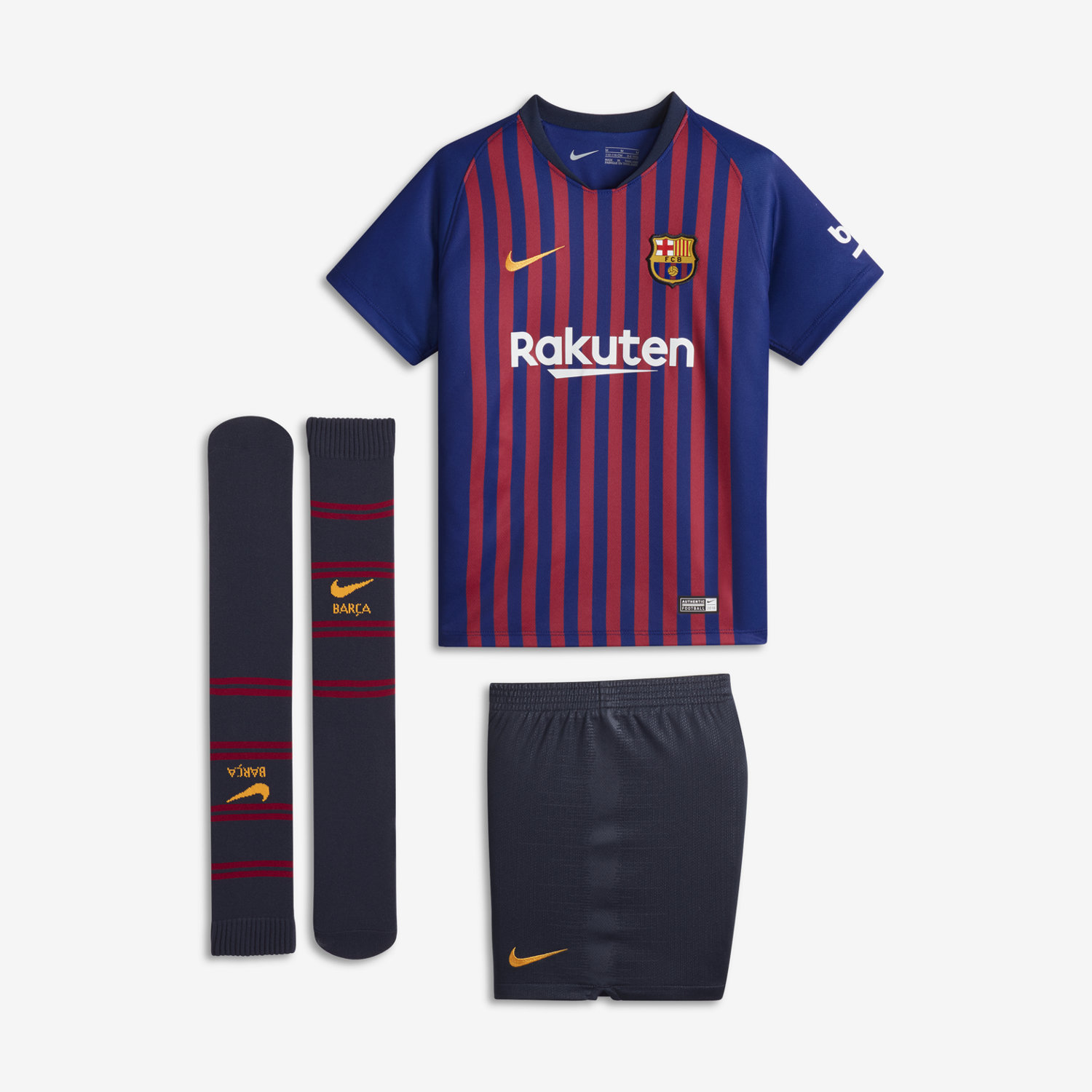 13ed1f8fd 2018 19 FC Barcelona Stadium Home Younger Kids  Football Kit. Nike ...