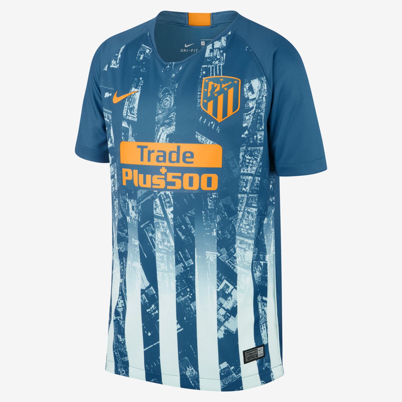 b4989f1701b 2018 19 Atlético de Madrid Stadium Third Older Kids  Football Shirt ...