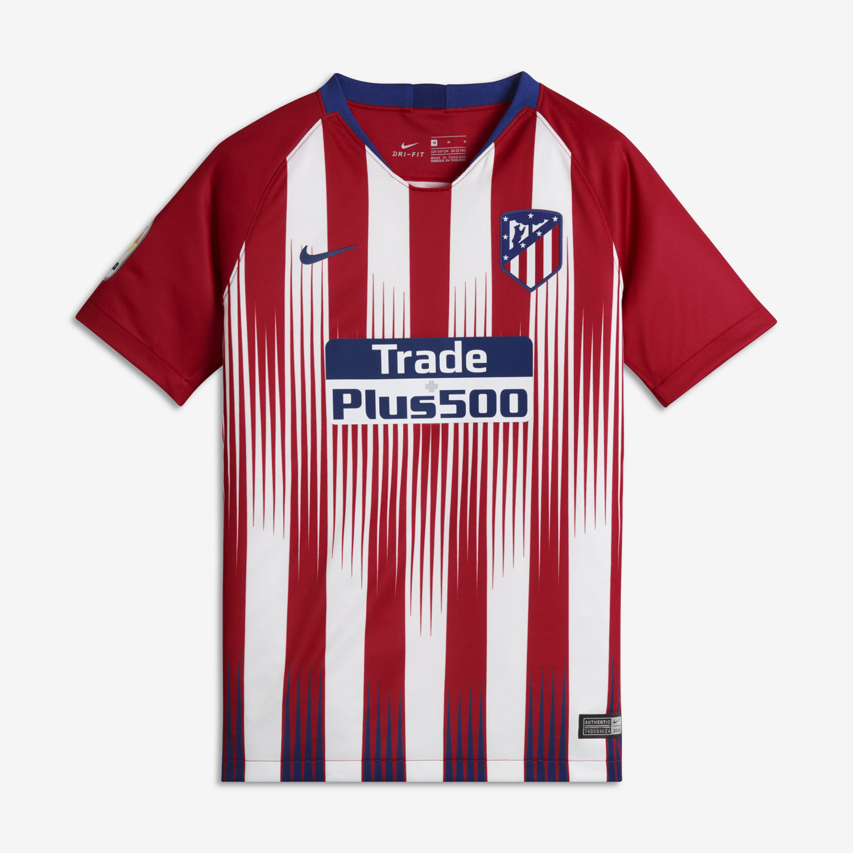 72b0f10fe23 2018 19 Atletico de Madrid Stadium Home Older Kids  Football Shirt ...