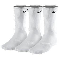 Носки Nike Cotton Cushion Crew (3 пары)Носки Nike Cotton Cushion Crew (3 пары) из влагоотводящей ткани, обеспечивающей воздухопроницаемость и комфорт, плотно облегают свод стопы, создавая дополнительную поддержку.  Преимущества  Влагоотводящая ткань обеспечивает комфорт Отвороты из рубчатой ткани для плотной и удобной посадки Усиленные пятка и носок для большей прочности в зонах максимального износа Поддержка свода стопы для устойчивой фиксации  Информация о товаре  Состав: 63% хлопок/33% нейлон/2% полиэстер/2% спандекс Машинная стирка Импорт<br>