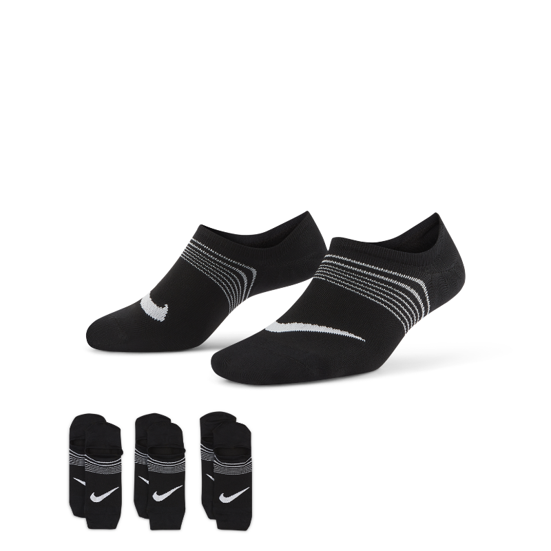最新2019年12月新着!<ナイキ(NIKE)公式ストア>ナイキ エブリデイ プラス ライトウェイト ウィメンズ トレーニング フッティー ソックス (3足) SX5277-010 ブラック