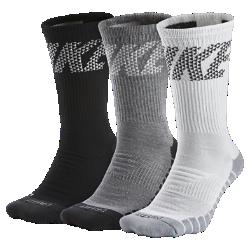 Носки для тренинга Nike Dry Cushion Crew (3 пары)Носки для тренинга Nike Dry Cushion Crew из влагоотводящей ткани с зональной амортизацией обеспечивают превосходную защиту от ударных нагрузок во время тренировки.<br>